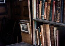 Free Books On Wooden Shelf Stock Image - 126176951