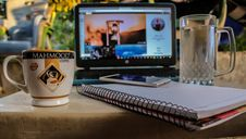 Free White Smartphone On Spiral Notebook Between Ceramic Mug And Glass Beer Mug Near Black Computer Monitor Showing Hour Glass Royalty Free Stock Photo - 126178755