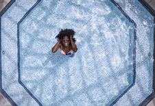 Free Aerial Photo Of Woman Wearing White And Blue Bikini Top Standing On Swimming Pool Royalty Free Stock Images - 126179109