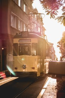 Free Yellow Tram Beside The Road Stock Images - 126179554