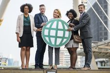 Free Five People Standing While Holding Green Globe Art Royalty Free Stock Photo - 126179675