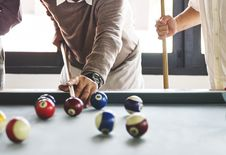 Free Three People Playing Billiards Stock Images - 126179714