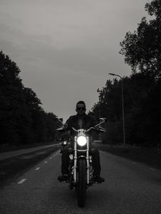 Free Grayscale Photo Of Man Riding Motorcycle On The Road Stock Photo - 126180000