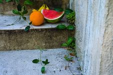 Free Fruits On Top Of Concrete Steps Royalty Free Stock Image - 126180346