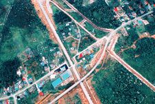 Free Aerial Photo Of Houses And Roads Stock Photography - 126180592