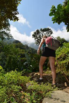 Free Woman Climbing On Mountain Stock Photos - 126182783