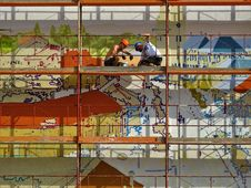 Free Two Person On Scaffolding Painting Wall Royalty Free Stock Photography - 126183307