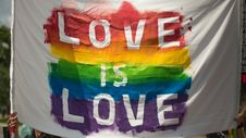 Free White And Multicolored Love Is Love Banner Stock Photos - 126184083