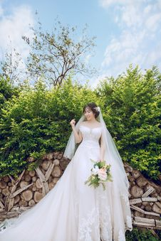 Free Bride Standing In Front Green Leaf Plant While Holding Bouquet Royalty Free Stock Photos - 126185128