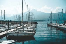 Free Parked White Boats Royalty Free Stock Image - 126186326