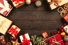 Free Gift Boxes On Brown Wooden Board Royalty Free Stock Photo - 126186635