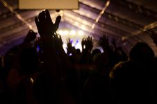 Free Silhouette Crowded People And Stage Lights Stock Photos - 126186733