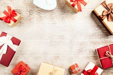 Free Assorted Gift Boxes On Wooden Surface Stock Photography - 126186812