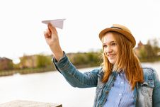 Free Girl Holding Paper Plane Royalty Free Stock Photography - 126186947