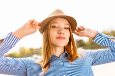 Free Woman Wearing Brown Hat And Blue Striped Dress Shirt Stock Image - 126186951