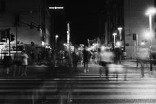 Free Group Of People Crossing Pedestrian Lane In Greyscale Royalty Free Stock Photography - 126186977