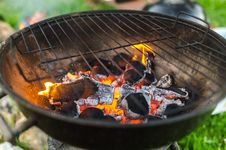Free Charcoal Is On Burning Stock Photo - 126187100
