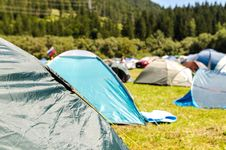 Free Tents Surrounded By Trees Royalty Free Stock Image - 126187136