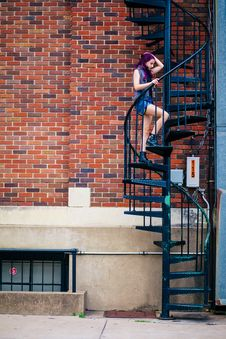 Free Woman On Spiral Stairs Stock Images - 126187144