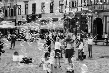 Free Grayscale Photo Of Children And Parents Outdoors With Bubbles Stock Photography - 126187162