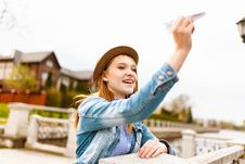 Free Woman Holding Paper Plane Stock Photos - 126187173