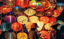 Free Two Person Standing Near Assorted-color Paper Lanterns Stock Image - 126187241