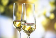 Free Beige Liquid In Clear Glass Wine Flutes Royalty Free Stock Photos - 126188338