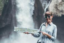 Free Woman Carrying Im Here You Not Plank On Front Of Waterfalls Stock Photography - 126188472