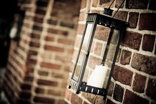 Free Black Metal Candle Lantern On Wall Royalty Free Stock Photography - 126189027