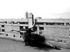 Free Ballerina Performing Beside Safety Fence Grayscale Photo Stock Image - 126189451