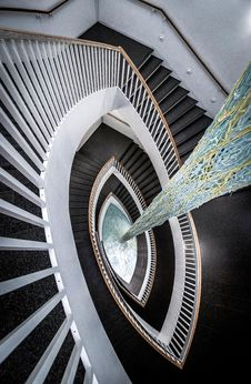 Free Photograph Of Black And White Spiral Stairs Stock Photography - 126189922