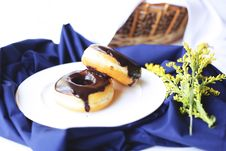 Free Two Donuts With Chocolate Syrup Stock Image - 126190531
