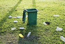 Free Green Trash Bin On Green Grass Field Royalty Free Stock Photography - 126190967