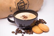 Free Black Ceramic Coffee Mug Surrounded By Coffee Beans Stock Photos - 126191643