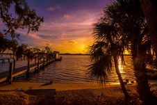 Free Silhouette Of Palm Trees Near Body Of Water And Sea Dock During Golden Hour Stock Photo - 126191830