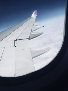 Free View Of Airplane Wings From Inside A Plane Royalty Free Stock Images - 126191929