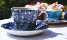Free Blue And White Ceramic Mug And Saucer Stock Image - 126191931