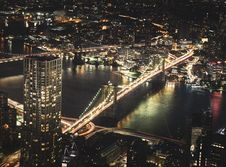 Free Aerial Photography Of High Rise Buildings At Night Time Stock Photo - 126191980