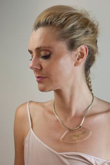 Free Woman In White Top And Gold-colored Necklace Stock Image - 126192471