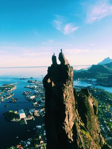 Free Two People Standing On Top Of Mountain With Views Of City In Port Stock Photo - 126192610
