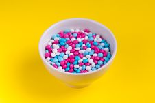 Free White, Pink, And Blue Candies In Bowl Royalty Free Stock Photography - 126193107