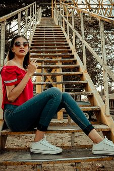 Free Woman Sitting On Stair Stock Photo - 126193170