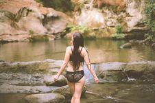 Free Woman In Bikini Standing Near Body Of Water Stock Photography - 126193382