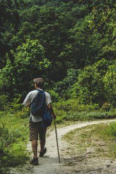 Free Man Walking On Trail Stock Image - 126194011