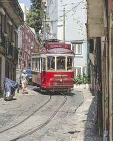 Free Red City Tram Stock Image - 126194471