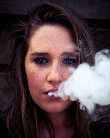 Free Woman Taking Selfie While Smoking Stock Photos - 126194503
