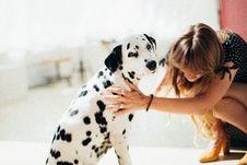 Free Woman Holding Adult Dalmatian Stock Photos - 126194533