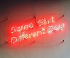 Free Same Shit Different Day Neon Sign Royalty Free Stock Images - 126194639