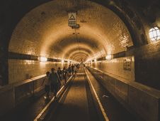 Free People Walking Inside Subway Tunnel Stock Images - 126194674