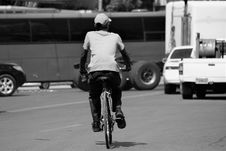 Free Grayscale Photo Of A Man Riding A Bicycle Royalty Free Stock Images - 126195289